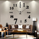 DIY Analog 3D Mirror Surface Large Number Wall Clock Sticker Modern Home Decor x