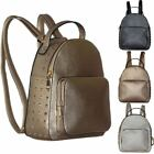 Metallic Faux Leather New Ladies Studs Decoration Backpack Rucksack