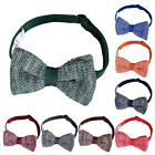 New DQT Knit Knitted Melange Plain Speckle Dot Adjustable Pre-Tied Men's Bow Tie