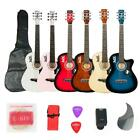 New 6 Colors DK-38C Basswood Acoustic Guitar +Bag+String+Pic