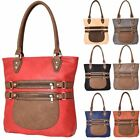 New Faux Leather Strap Zip Detail Two Tone Ladies Tote Bag Handbag