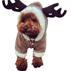 Fancy Xmas Reindeer Dog Costumes Pet Cat Coat Sweaters Warm Hoodie Outfit US