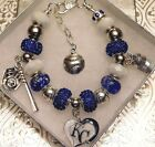 MLB KANSAS CITY ROYALS DELUXE Crystal European Charm Bracelet  FREE SHIPPING!!!