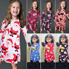 US Cute Toddler Kid Baby Girl Christmas DressLong Sleeve Party Xmas Fancy Outfit