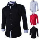 Fashion Mens Slim Fit Casual Long Sleeve Luxury Dress Shirts Business Shirt Tops