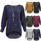 NEW WOMEN KNITTED BATWING NECKLACE DIP HILO HEM LONG SLEEVE LADIES TOP PLUS SIZE