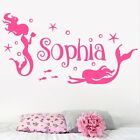 Personalised Name Children Wall Art Sticker Quote Disney Little Mermaid Ocean