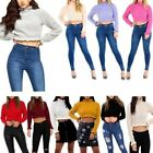 LADIES NEW RUFFLE FRILL TRIM KNITTED HIGH NECK CROP JUMPER TOP UK 8-14