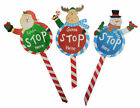 Wooden Santa Stop Here Sign Snowman Reindeer Christmas Xmas Gift Decoration 9720