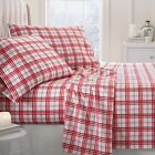 Ultra Soft Premium Christmas Plaid Pattern 4 Piece Flannel Bed Sheet Set
