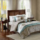 brown and blue comforters - Posh 7pc Blue Brown & Ivory Jacquard Paisley Comforter Set AND Deco Pillows