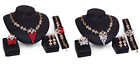 Women Ladies Gold Plated Crystal Jewellery African Wedding Casual Necklace Set
