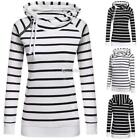 New Fashion Women Casual Double Hooded Striped Long Sleeve Pullover DZ88