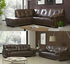 Maxim Sofa 3 + 2 + 1 Armchair Seater Set Black Or Brown Leather With Chrome