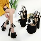 Womens Ankle Strappy Platforms Open Toe Tassel Lace Up High Heels Club Sandals