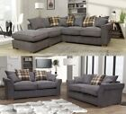 Rome 3 + 2 Seater Sofa Set Plain Fabric Formal Back Grey Silver Charcoal Beige