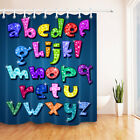 Glowing Cartoon Letters Shower Curtain Waterproof Fabric Polyester BathMat