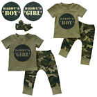 Newborn Baby Daddy's Boy Girl Camo T-shirt Tops Pants Outfits Set Clothes 0-24M