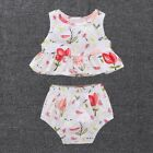 Newborn Infant Baby Girl Floral Sleeveless Tops Vest+Pants Shorts Outfit Clothes