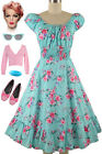 50s Style PALE AQUA w/PINK ROSE Floral PINUP Peasant Top On/Off Shoulder Dress