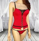 Red Valentines Day Corset Bustier Lingerie w Black Faux Lace Up Detail ROY