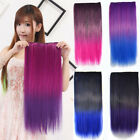 Colorful Ombre Color Long Straight Clip in Hair Extensions Piece 3/4 full head