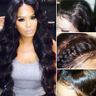 "10""-22"" 8A 1B Malaysian Virgin Human Hair Wig Pre Plucked Full Front Lace Wavy s"