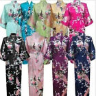 Women Long Bride Robe Satin Silk Night Dressing Gown Bathrobe Bridesmaid Kimono
