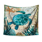Blue Marine Animal Tapestry Turtle Octopus Whales Sea Horse Wall Hanging Beach S