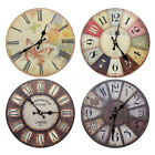 12'' Silent Vintage Rustic Wooden Round Wall Clock Retro Home Kitchen Chic Decor