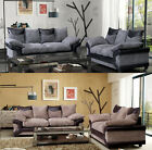 New Quality Jumbo Dino 3 + 2 Seater Sofa Fabric Black & Grey + Brown & Beige