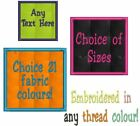 PERSONALISED CRAFT PATCH EMBROIDERED ANY NAME TEXT COLOUR - SEW ON SQUARE BADGE