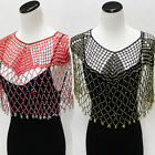 Beaded Tassel Infinity Shawl Scarves Fringe Knitted Wrap Evening Scarf Crocheted