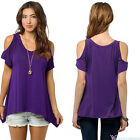 Women's Summer Cold Shoulder Loose Top Short Sleeve Blouse Casual Tops T-Shirt