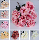 10 Head Rose Artifical Flowers Real Latex Touch Wedding Party Home Bouquet Decor