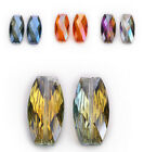 Faceted Big Long Flat Oval Glass Crystal Loose Spacer Beads Necklace Findings
