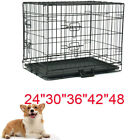 Dog Crate Kennel Folding Metal Pet Cage 2 Door Divider Tray Pan S/M/L/XL/XXL