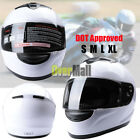 DOT Full Face Motorcycle Scooter Road Crash Motorbike Adult Safety Helmet -White
