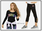 NWT JUSTICE Girls 8 10 12 14 Rainbow Logo Tee & Criss Cross Crop Leggings Outfit