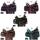 10 12 13 PURPLE PINK BLACK BROWN BLUE WESTERN SYNTHETIC PONY SADDLE TACK SET PAD