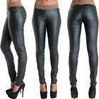 Womens Black Faux Leather Look Stretchy Trousers Ladies Slim fit jeans Size 8 12