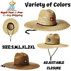 Mens Raffia Straw Sun Hat Adjustable Closure And Chin Strap Woven Imported Wear