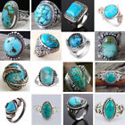 925 Sterling Silver Turquoise Gems Ring Men Women Wedding Party Gypsy Sz 6-10