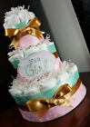 3 Tier Diaper Cake - Pink Mint and Gold Diaper Cake for Baby Girl Baby Shower