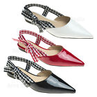 AnnaKastle Womens Pointy Toe Shiny Patent Slingback Flat w Plaid Checker Strap