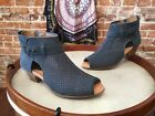 Earth Keri Moroccan Blue Nubuck Perforated Leather Peep-toe Ankle Bootie NEW
