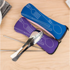 Portable Cloth Bag Outdoor Lunch Tableware Cutlery Set Spoon Fork Chopsticks