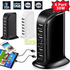 30W Multi 6 USB Port Hub Charger 6A Rapid Charging Station Desktop Travel iPhone
