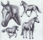 Personalised Custom Machine Embroidered Towels  Horse Sketch Design