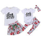 Newborn Little Big Sister Announcement Girls Matching Rompers Tops Pants Outfit